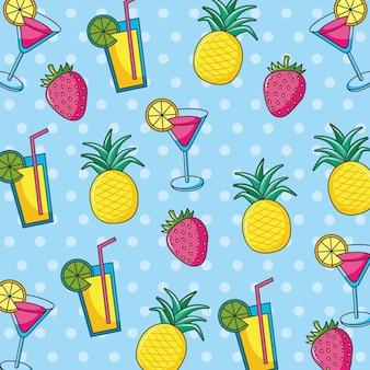 トロピカルカクテルとフルーツの夏のバナー