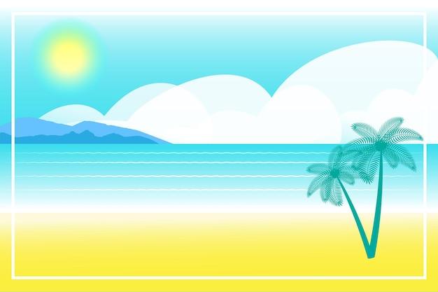 夏のバナーまたはテキスト用のスペースのある背景。グリーティングカード、ポスター、広告、壁紙。夏の風景、休暇、週末、休日のコンセプト。幸せな光沢のある日。