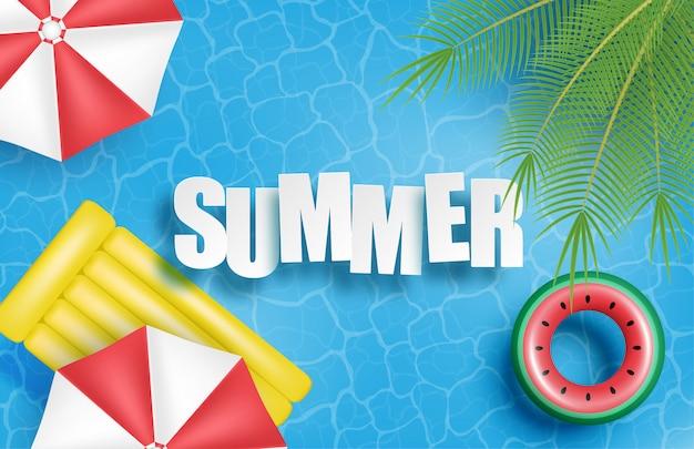 夏のバナーまたはポスター。手のひら、傘、膨脹可能なゴム製ベッド、水泳用リング付きのスイミングプール。