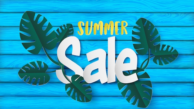 Summer banner in the paper craft style come with monstera leaves or swiss cheese plant