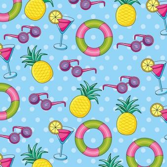 飲み物と果物の夏のバナーパターン。夏のアイコン