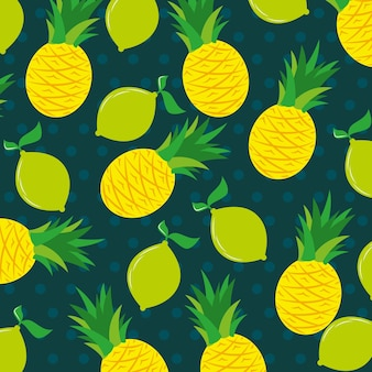 Summer banner pattern with pineapple and lemon