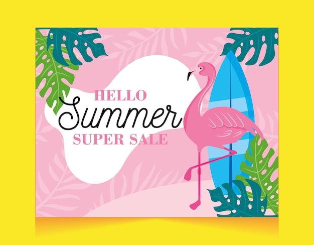 Summer banner. pink flamingo between tropical leaves. hello summer. super sale