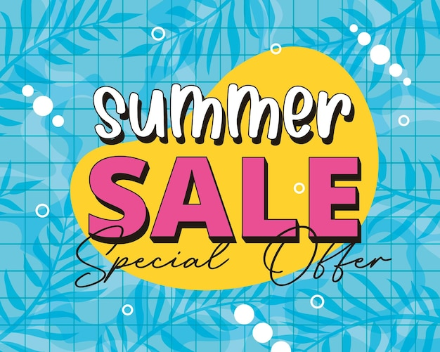 Summer banner. pool background with summer sale. special offer
