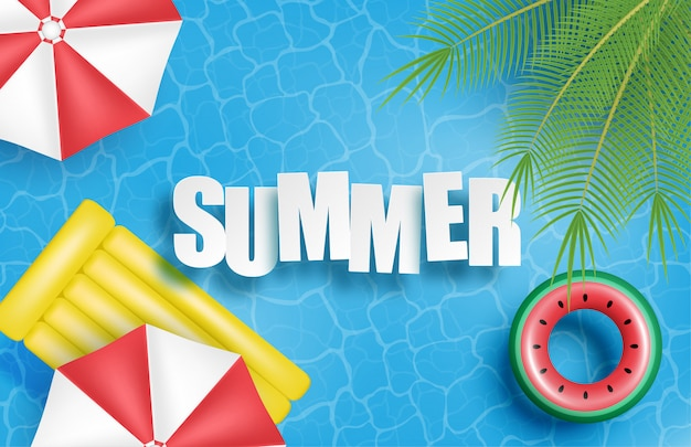 Summer banner or poster. swimming pool with palm, umbrella, inflatable rubber bed, swim ring on water.
