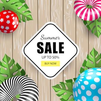 Summer banner sale with 3d balls