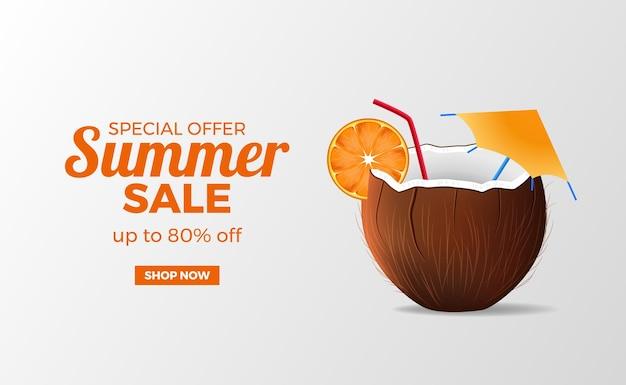 현실적인 코코넛 여름 배너 판매