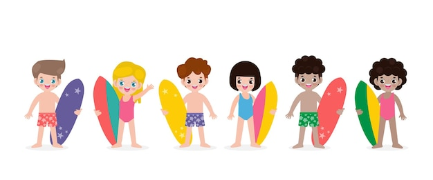 Summer banner and set of cute surfer children with surfboard