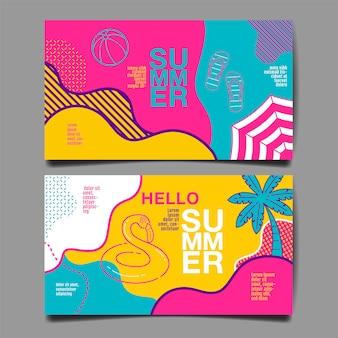Summer banner set