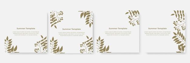 여름 배너 템플릿입니다. 꽃 잎 소셜 미디어 게시물 템플릿 세트.