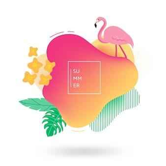 夏のバナーテンプレート。花、フラミンゴの鳥、熱帯の流体の泡、カード、パンフレット、季節のデザインのプロモーションバッジと熱帯の液体の幾何学的形状の背景。ベクトルイラスト