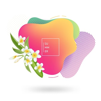Summer banner template. tropical liquid geometric shape background with flowers, tropic fluid bubble, card, brochure, promo badge for your seasonal design. vector illustration