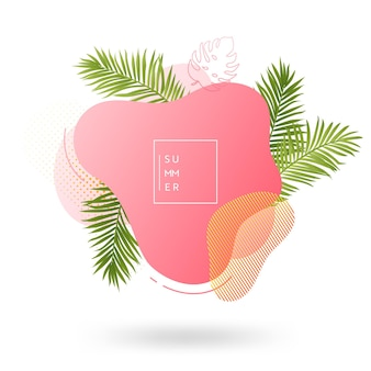 Summer banner template. tropical liquid geometric shape background with palm leaves, tropic fluid bubble, card, brochure, promo badge for your seasonal design. vector illustration