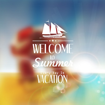 Summer banner template with lettering text