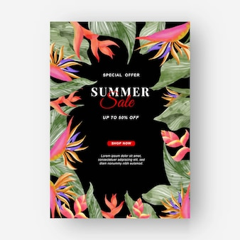 Летний баннер тропический фон с цветами стрелиции и тропическими листьями