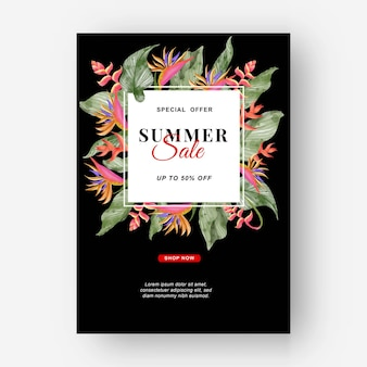 Summer banner tropical background with strelitzia flowers and tropical leaves