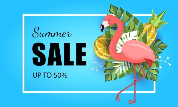 Summer banner tropical leaf background flamingo