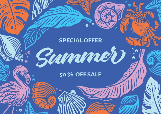 Summer banner with beach element frame in blue