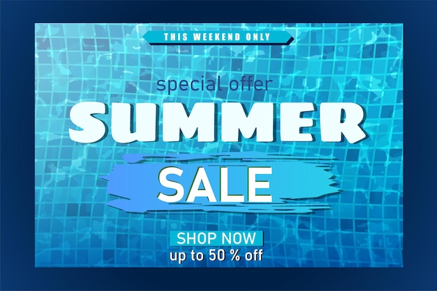 Summer banner with big white  typography letters realistic swimming pool texture underwater
