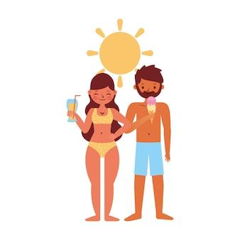 白い背景の上に分離されたカップルと夏のバナー。ベクトル図