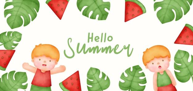 수채화 스타일의 귀여운 소년과 여름 배너