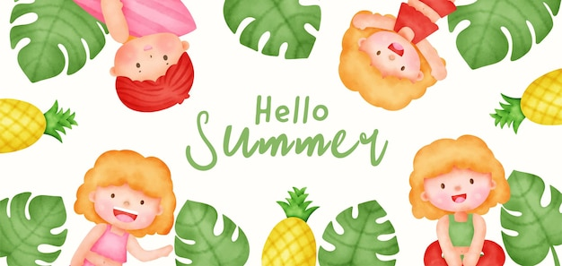 Summer banner with cute girls in watercolor style