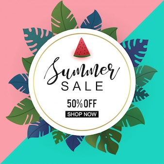Summer banner with decorative tropical leaves