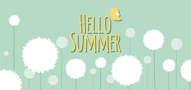 글자와 만화 플랫 스타일의 필드에 꽃과 함께 여름 배너