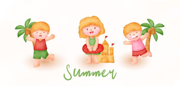 Summer banner with a kid in watercolor