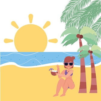 Summer banner with outdoor landscape cartoon .vector illustration