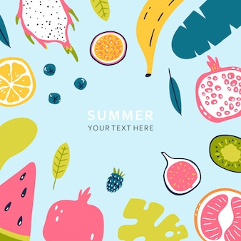 Summer banner with pieces of ripe fruit and berries isolated on blue background. vector illustration.