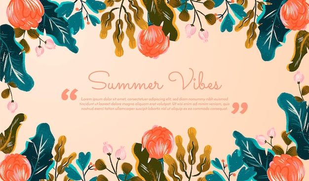 Summer banner with quote background