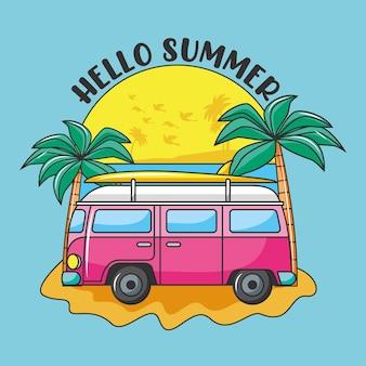 ビーチでレトロなバンの車と夏のバナー。こんにちは夏