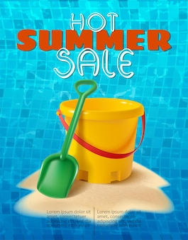 Summer banner with sand kids play bucket and spade on the sand hill and water tiles