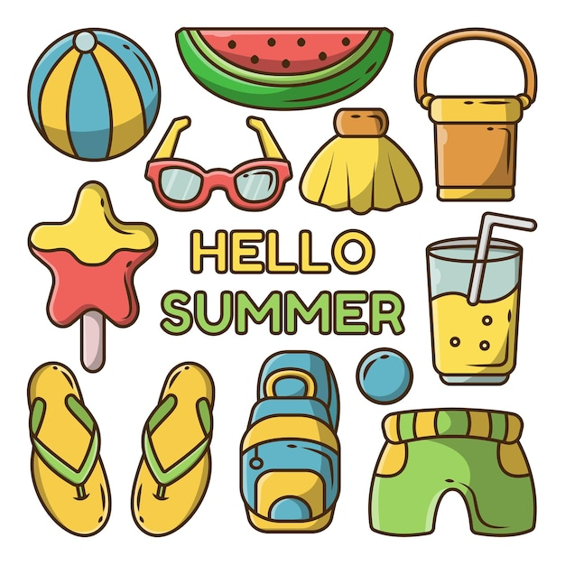 Summer banner with set of hand drawn summer elements
