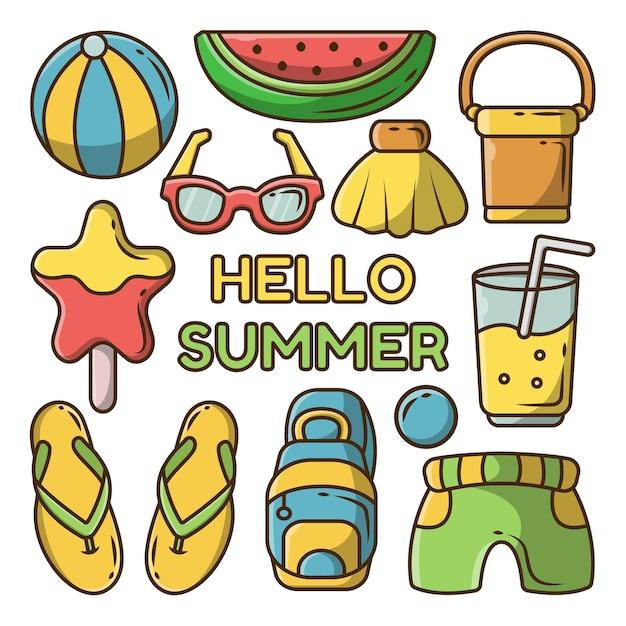手描きの夏の要素のセットと夏のバナー