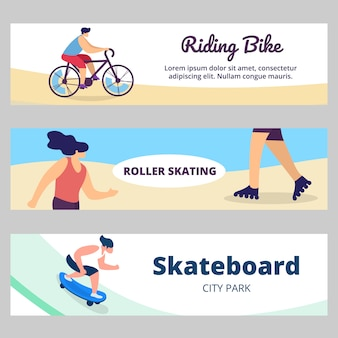 Summer banner with sports activity. young people, teenagers riding bike, skateboard, roller