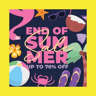 Summer banner with summer animals and elements cartoons .vector illustration
