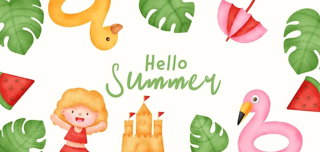 Summer banner with summer elements in watercolor style