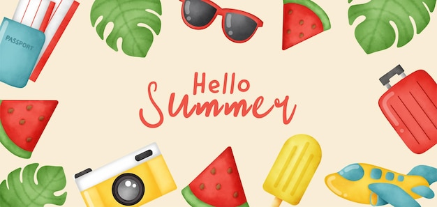 夏の要素を持つ夏のバナー