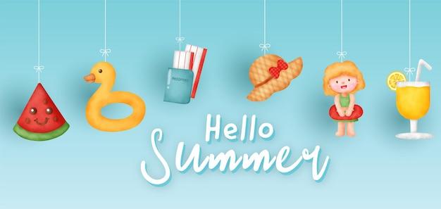 여름 요소와 여름 배너