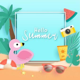 Летний баннер с тропическими фламинго и летними элементами.
