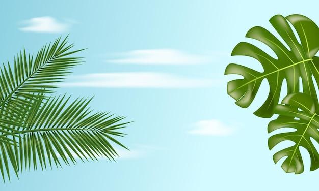 青い空に熱帯の葉と夏のバナー