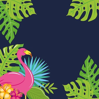 Summer banner with tropical leaves with flamingo .vector illustration