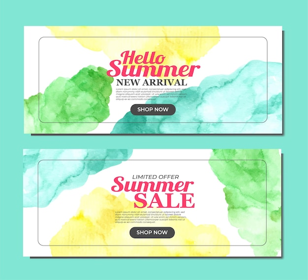 Summer banner with vibrant stain watercolor