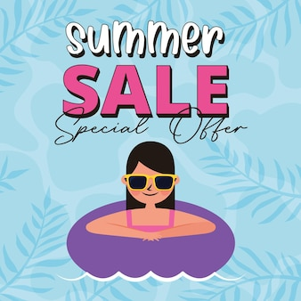 Summer banner with woman in the float cartoon .vector illustration