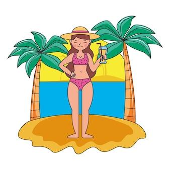 Летний баннер с женщиной на острове мультфильм. векторная иллюстрация
