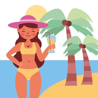 Летний баннер с женщиной с соком в мультфильме острова