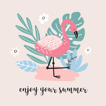 Summer banner wth cute flamingo and hand drawn elements