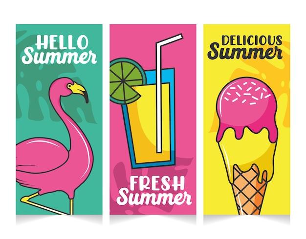 フレッシュジュースと美味しいアイスクリームがセットになった夏のバナー。こんにちは夏